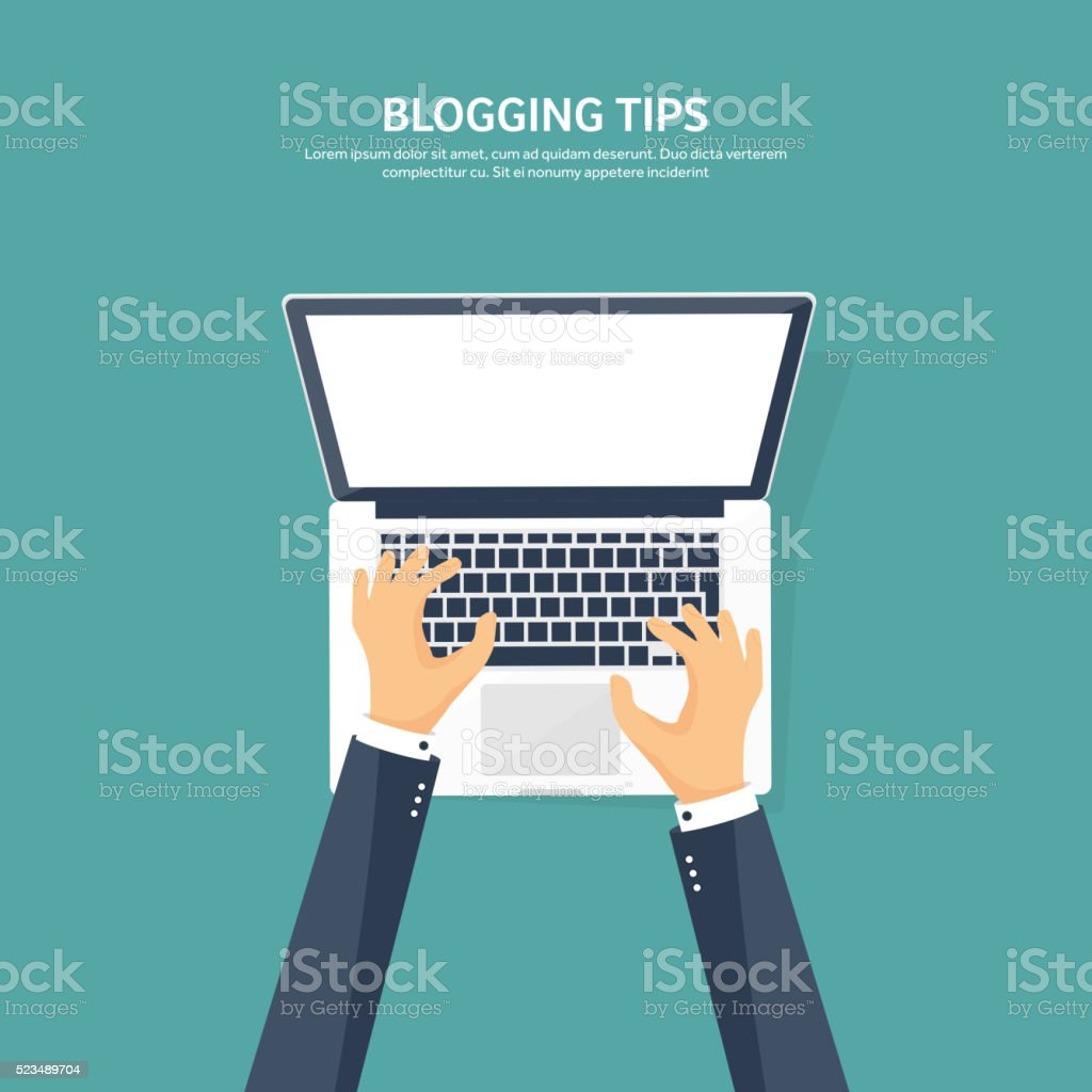 Vector illustration. Flat hands with compuiter. Computing, blogging vector art illustration