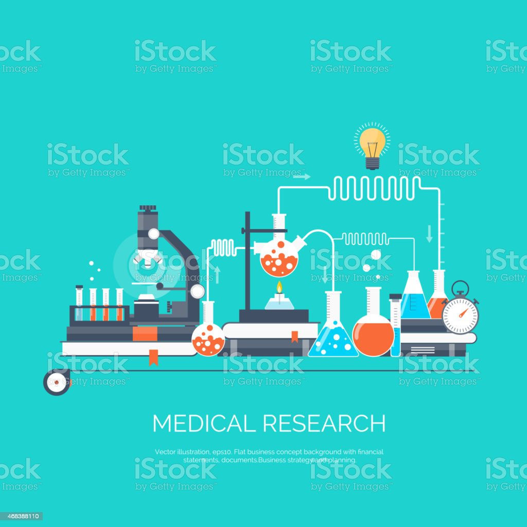 Vector illustration. Flat medical and chemical background. Medical research, experiment vector art illustration