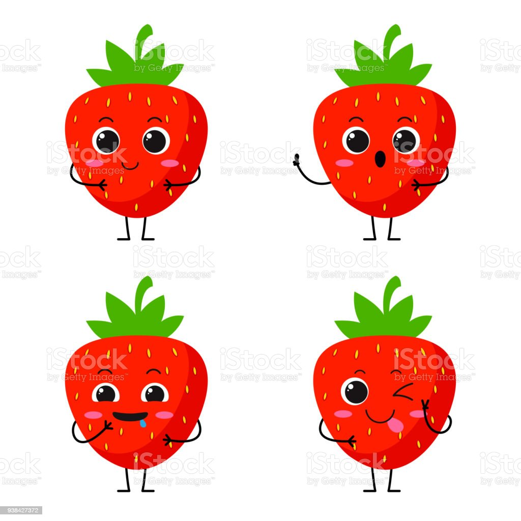 Vector Illustration Flat Strawberry Cute Character Expression ...