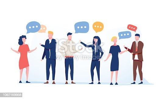istock Vector illustration flat style, businessmen discuss social network group of people, news social networks, meeting chat 1062169958