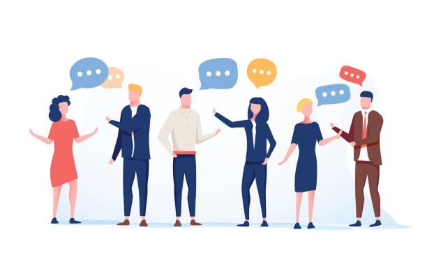 вектор иллюстрация плоский стиль, бизнесмены обсуждают социальные сети группы людей, новости социальных сетей, встреча чат - сообщение stock illustrations