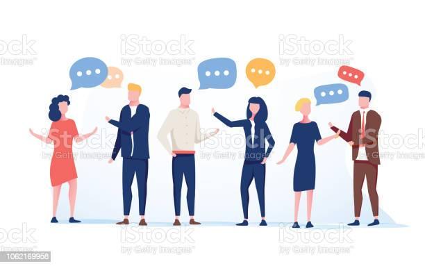 フラット スタイルのベクトル イラストビジネスマン話し合う会議チャットの人々ニュース ソーシャル ネットワークのソーシャル ネットワーク グループ - つながりのベクターアート素材や画像を多数ご用意