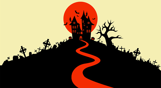 Vector illustration, Flat Style, Halloween background, the vampire castle silhouette located on a hill between the cemeteries at full moon, tombstone, dracula, graveyard, cross, jack o lantern, scary