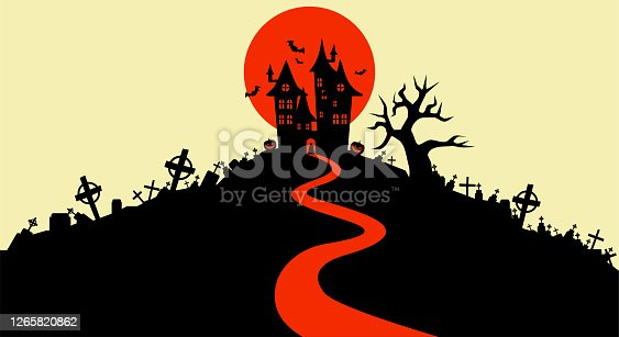 istock Vector illustration, Flat Style, Halloween background, the vampire castle silhouette located on a hill between the cemeteries at full moon, tombstone, dracula, graveyard, cross, jack o lantern, scary 1265820862