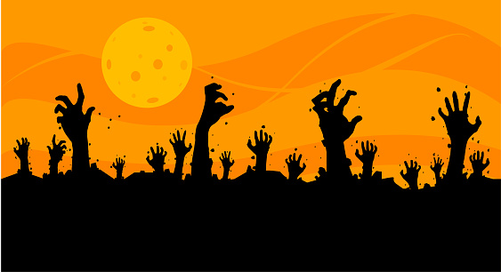 Vector illustration, Flat Style, Horror halloween background, silhouette of zombie hands come out of the ground or the cemetery on top there is a full moon, can use for card, poster, banner, invitation