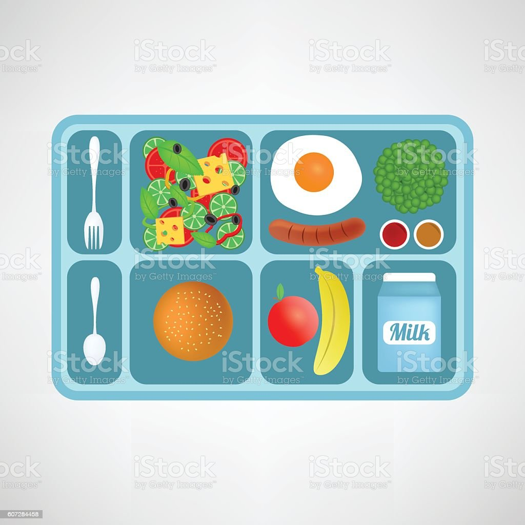 Vector illustration. Flat style. School lunch. Healthy food for students. vector art illustration