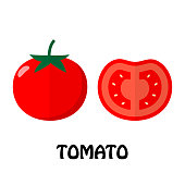 Vector Illustration Flat Tomato isolated on white background , Raw materials fresh vegetable