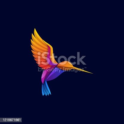 istock Vector Illustration Flaying Bird Gradient Colorful Style. 1215671561