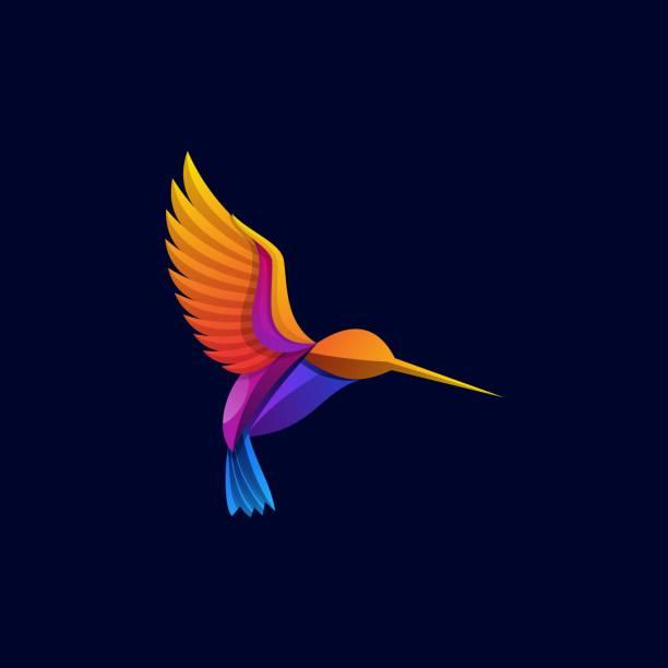 Vector Illustration Flaying Bird Gradient Colorful Style. Vector Illustration Flaying Bird Gradient Colorful Style. animal body part stock illustrations