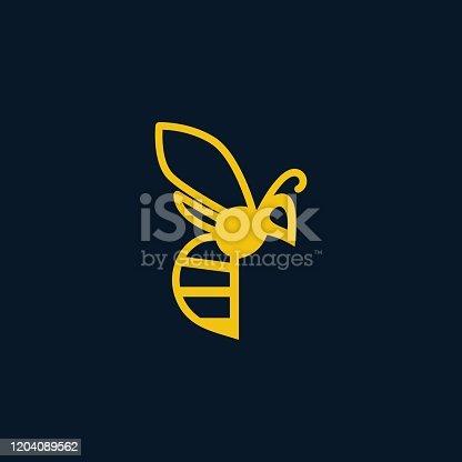istock Vector Illustration Flaying Honey Bee Line Art Style. 1204089562