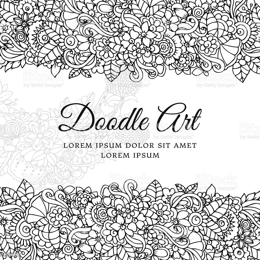 - Vector Illustration Floral Frame Doodle Drawing Coloring Book Anti