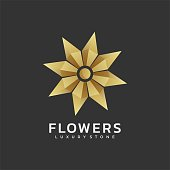 Vector Illustration Flower Gradient Colorful Style.