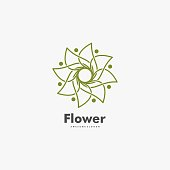 Vector Illustration Flower Gradient Line Art Style.