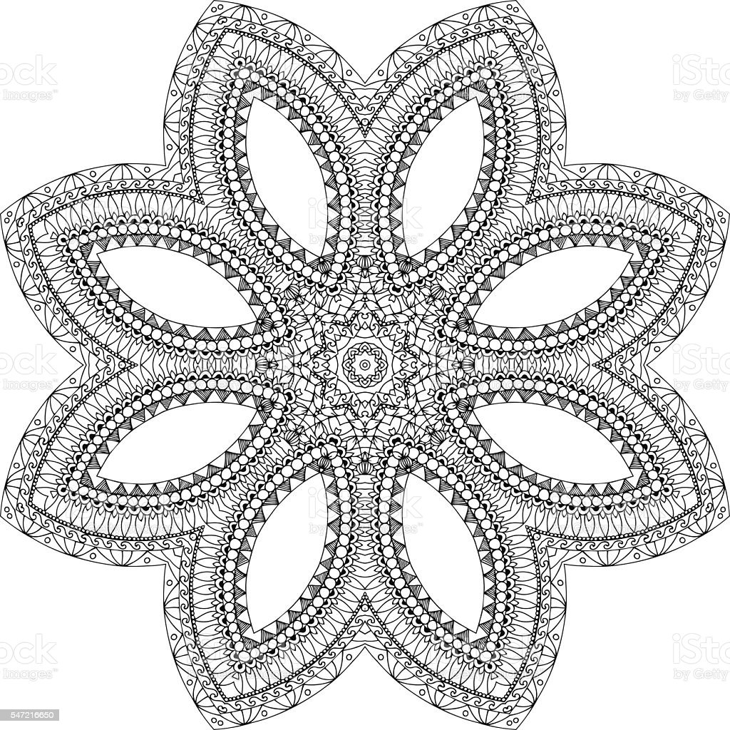 Vector Illustration Flower Mandala Doodle Drawing Coloring Book Royalty Free