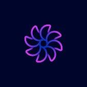 Vector Illustration Flower Spiral Gradient Colorful.