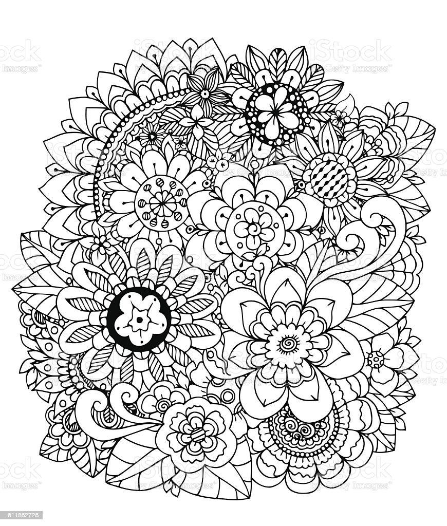 Vector Illustration Flowers Mushroom Doodle Drawing Meditative ...