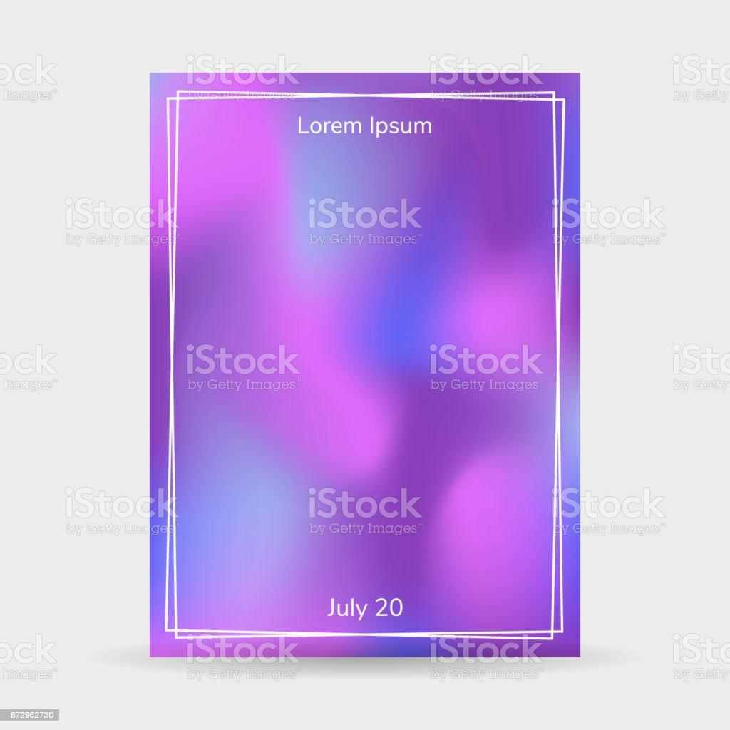 ベクトル イラスト流体はポスター フレーム紫青グラデーションを背景色し
