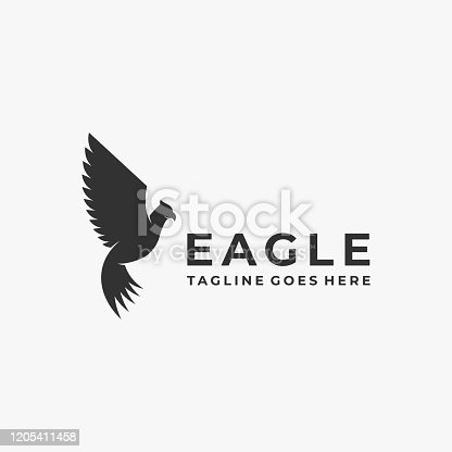 Vector Illustration Fly Eagle Silhouette Style.
