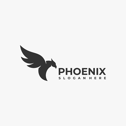 Vector Illustration Fly Phoenix Silhouette Style.