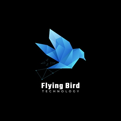 Vector Illustration Flying Bird Gradient Colorful Style.