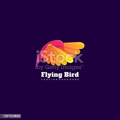 istock Vector Illustration Flying Bird Gradient Colorful Style. 1287529833
