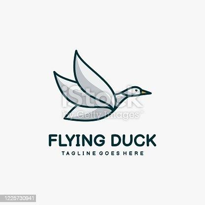 Vector Illustration Flying Duck Mascot Cartoon Style.