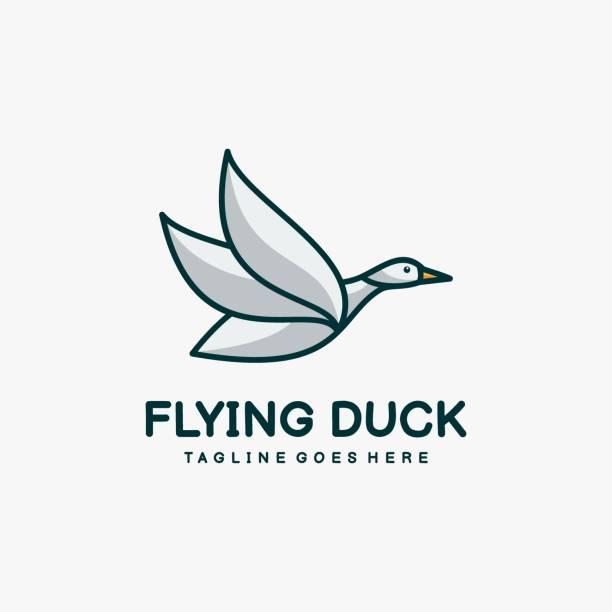 Vector Illustration Flying Duck Mascot Cartoon Style. Vector Illustration Flying Duck Mascot Cartoon Style. goose bird stock illustrations