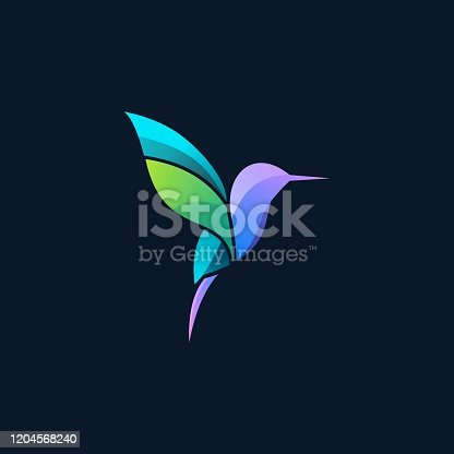 Vector Illustration Flying Humming Bird Gradient Colorful.