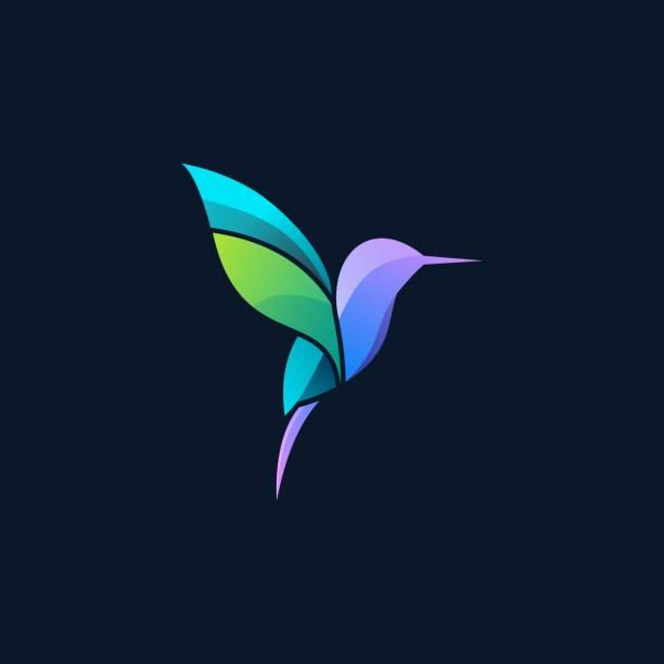 vektor-illustration fliegende humming vogel gradient bunt. - gliedmaßen körperteile stock-grafiken, -clipart, -cartoons und -symbole