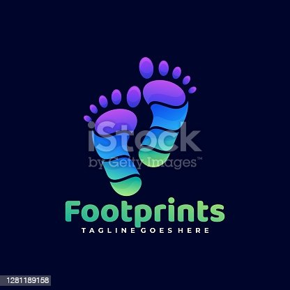 istock Vector Illustration Foot Prints Gradient Colorful Style. 1281189158