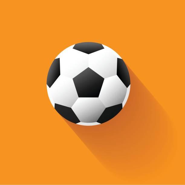 Vektor-Illustration-Fußball-Kugel-Symbol und Schatten in einem flachen Stil – Vektorgrafik