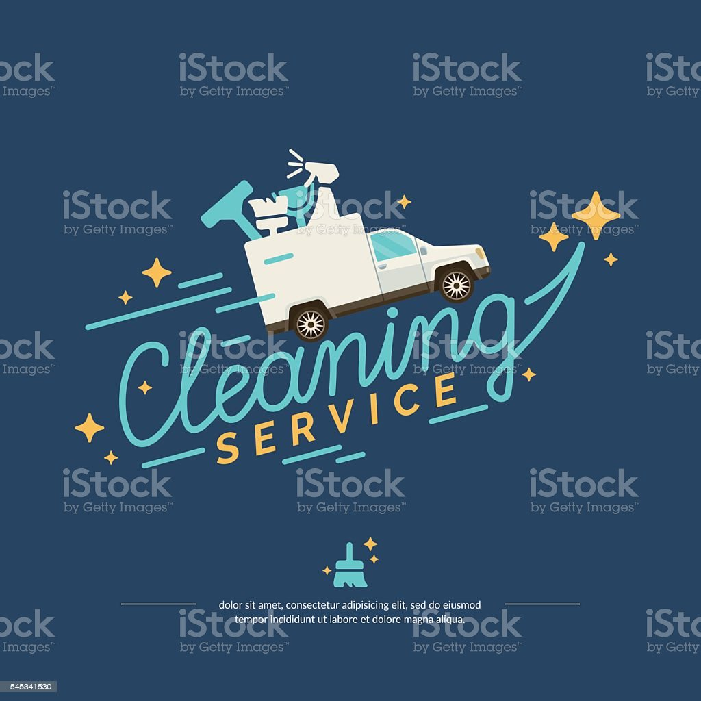 Vector illustration for a cleaning service with car vector art illustration