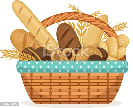 Vector illustration for bakery shop. Basket with wheat and fresh bread. Bakery bread in wicker basket, food healthy breakfast