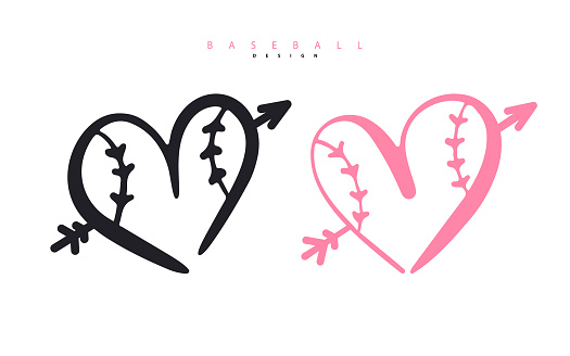Vector illustration for baseball. Heart with an arrow for Valentine's Day. Logo for poster design, postcard, print for t-shirts.