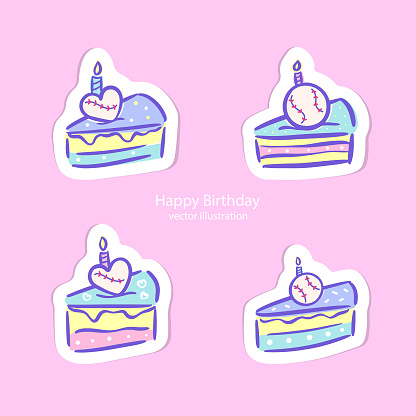Vector illustration for baseball, stickers. A collection of multi-colored cakes for the design of invitations for birthday, party, print for postcards, t-shirts.