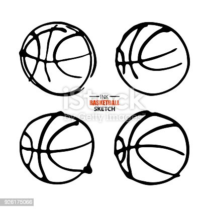 Vector Illustration For Basketball Set Sketch Hand Drawing Symbol
