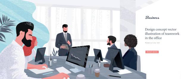 vektor-illustration für wirtschaft und finanzen. erfolgreicher teamleiter und geschäftsinhaber führendes geschäftstreffen. geschäftsmann, der am computer im vordergrund arbeitet. - meeting stock-grafiken, -clipart, -cartoons und -symbole