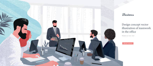 Vector illustration for business and finance. Successful team leader and business owner leading   business meeting. Businessman working on computer in foreground. vector art illustration