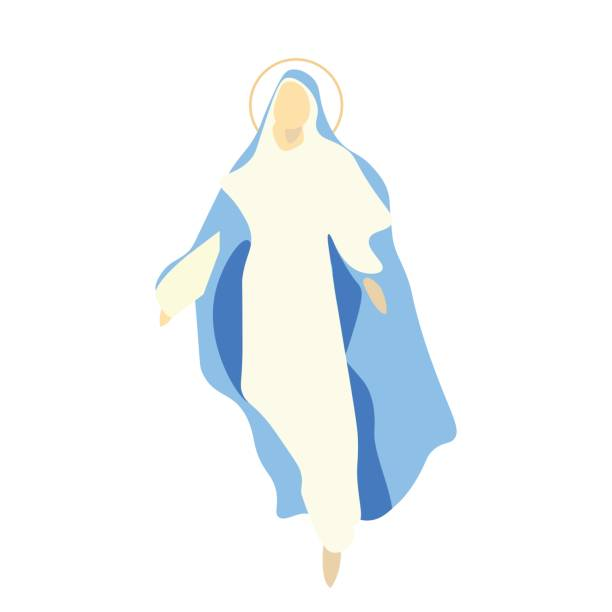 illustrazioni stock, clip art, cartoni animati e icone di tendenza di vector illustration for christian community: saint mary the virgin, or the mother of god. great as an illustration for the assumption, the nativity or the birth of the blessed virgin mary. - ferragosto