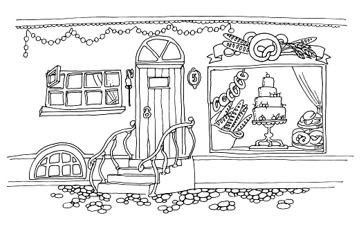 Vector Illustration For Coloring Book City Street With A Bright
