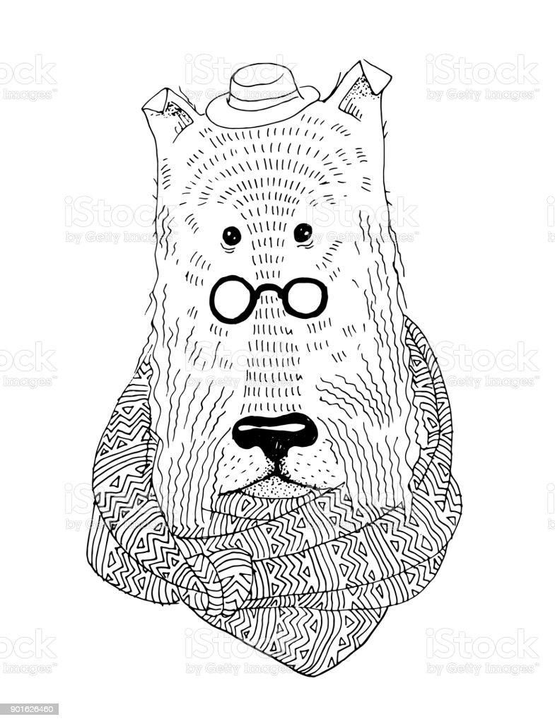 Boyama Kitabı Için Vektör çizim Köpeğin Dikey örme Atkı Stok Vektör