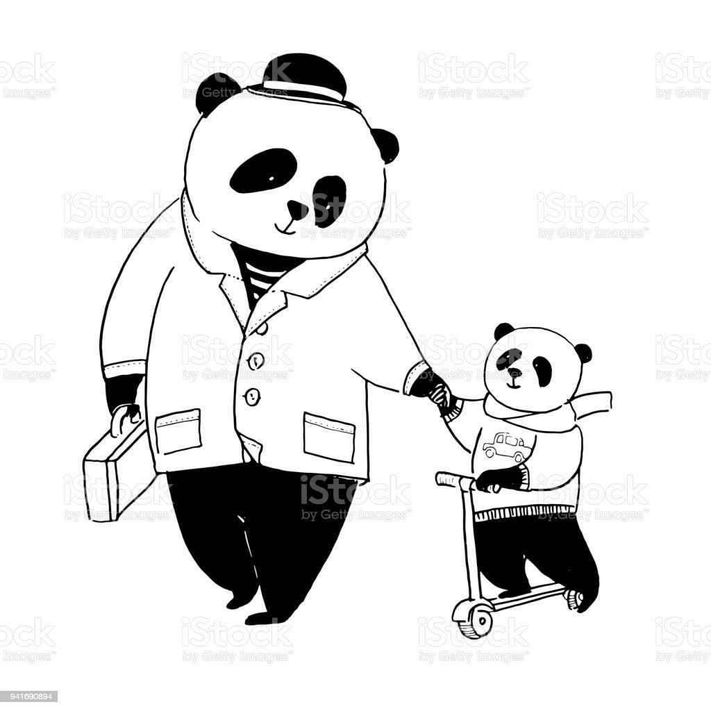 Boyama Kitabi Icin Vektor Cizim Babasi Panda Ceketli Bir Yuruyus