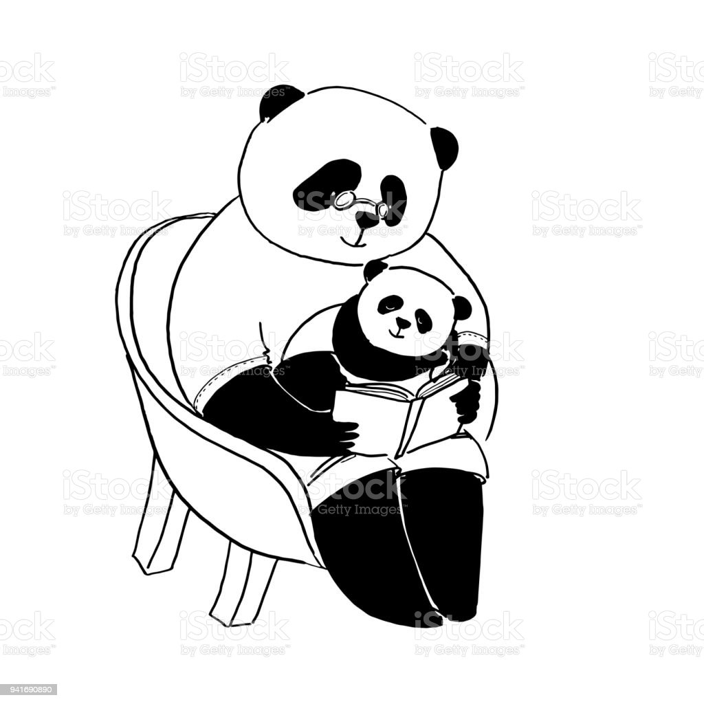 Vector Illustration For Coloring Book. Father Panda In T Short Sitting On  Chair And