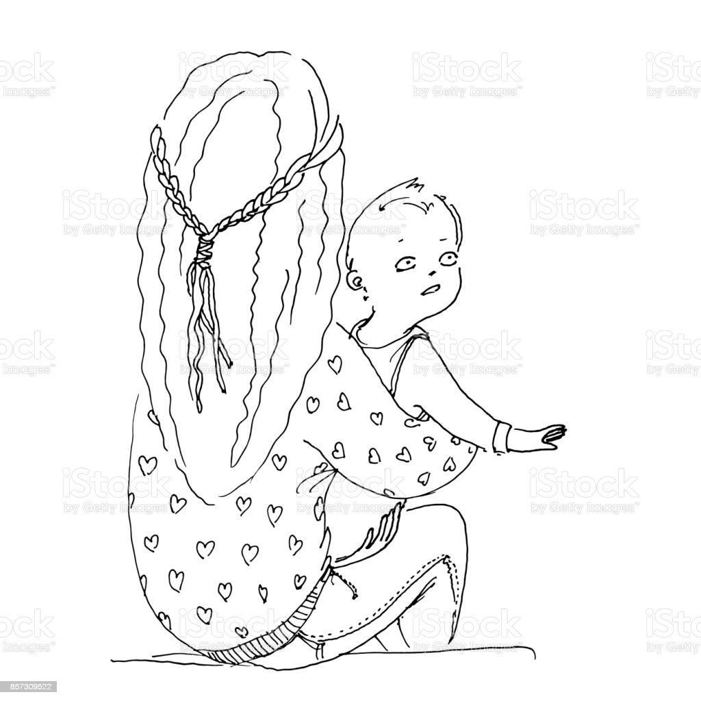 Boyama Kitabi Icin Vektor Cizim Uzun Sacli Anne Kucuk Bebegi