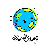 Vector illustration for Earth Day. Planet in the style of Emoji, kawaii