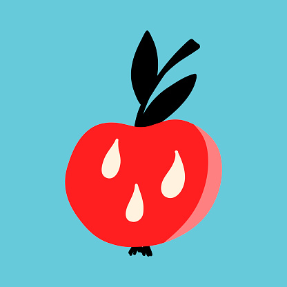 Vector illustration for Halloween, a red apple with a black twig and drops of poison