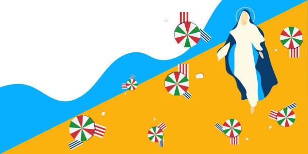 illustrazioni stock, clip art, cartoni animati e icone di tendenza di vector illustration for italian community: ferragosto or catholic feast of the assumption of mary. virgin mary and summer beach parasols as a symbol of ferragosto festival. - ferragosto