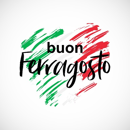 Vector illustration for italian traditional august holiday Ferragosto. Happy Ferragosto summer holiday in italian language on creative shape of a heart and in the colors of the national flag of Italy.