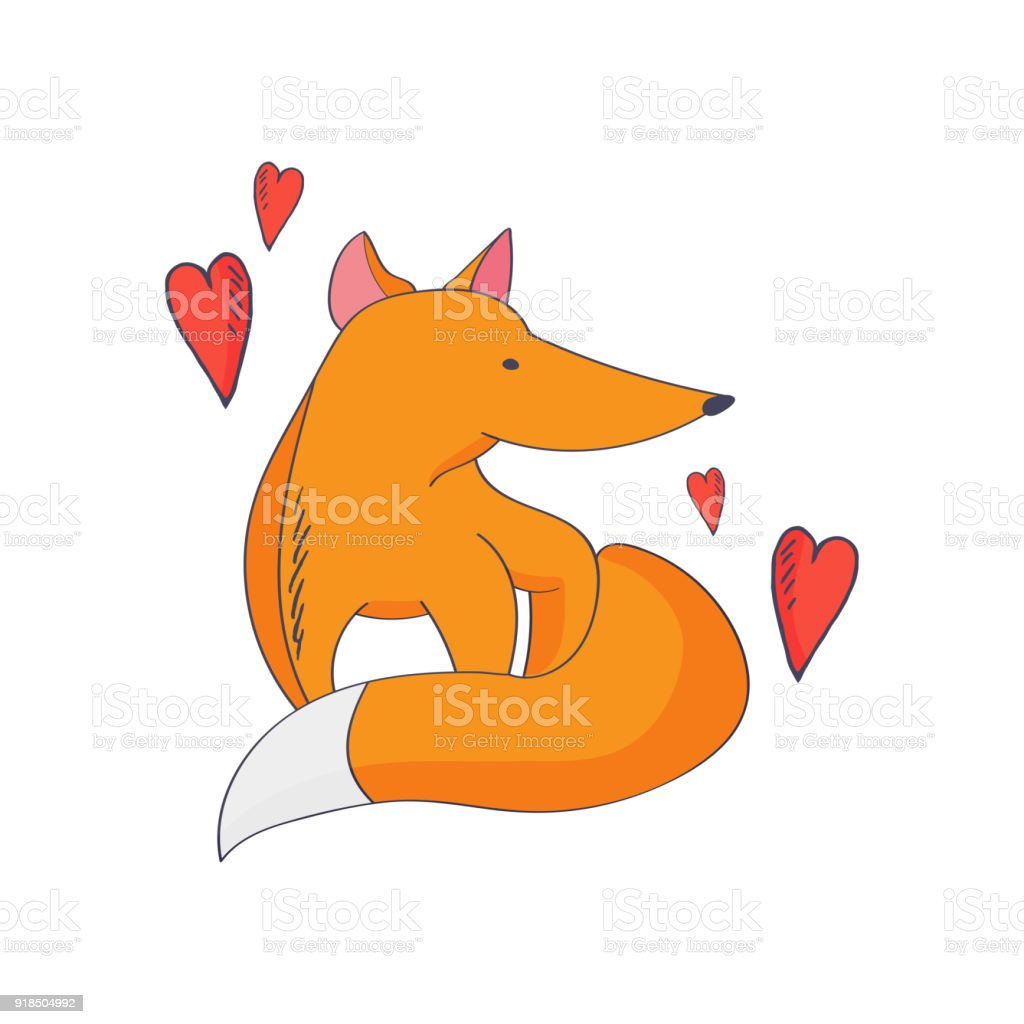 Vector Illustration For Kids Fox Pup Or Cub And Love Heart Symbols