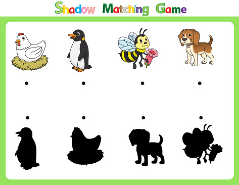 Vector illustration for learning  shadow of different shapes. For children witch  4 cartoon images Hen, Penguin, Bee, Dog .